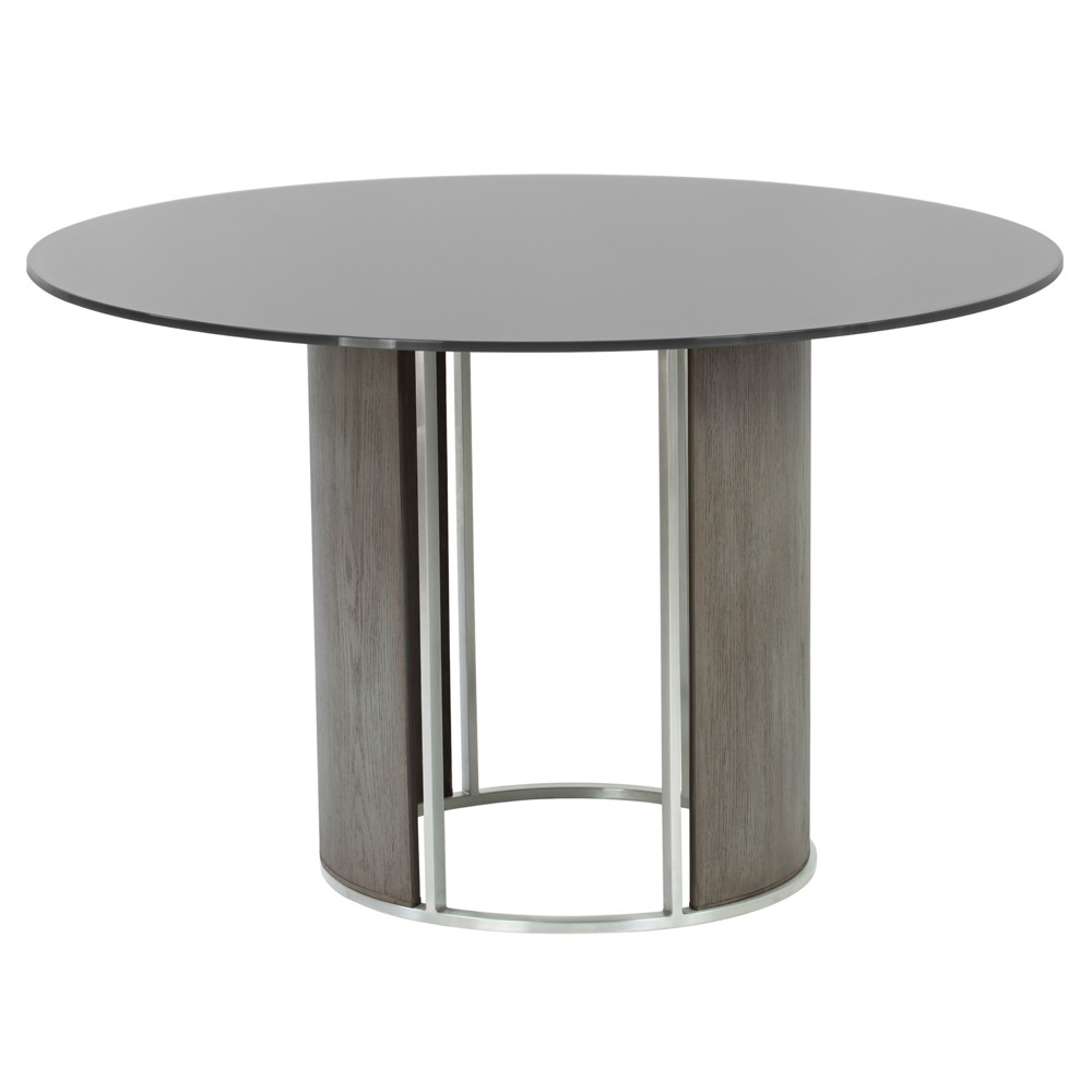Delano Round Dining Table in Brushed Stainless Steel with Clear Tempered Glass Top and Walnut (Brown) Column - Armen Living