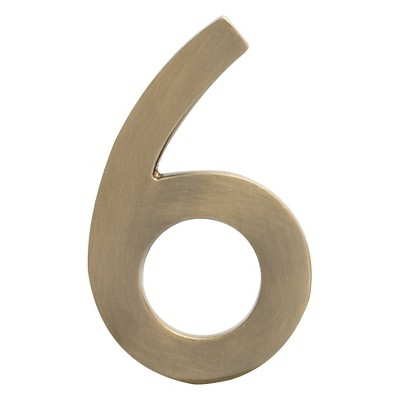 "Architectural Mailboxes 5"" House Number 6 Antique Brass"