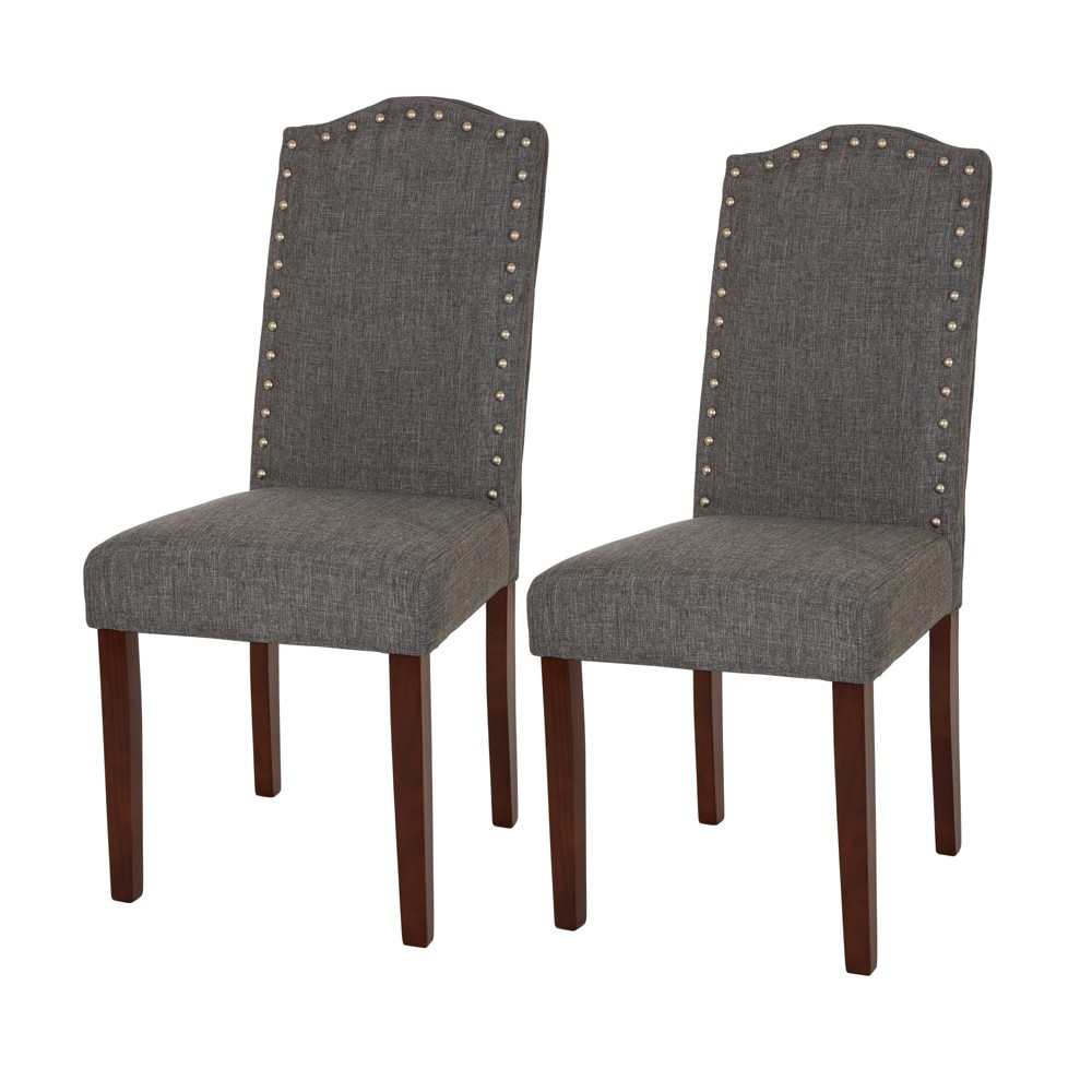 Upholstered Dining Chair With Studded Decoration Set of 2 Gray - Glitzhome