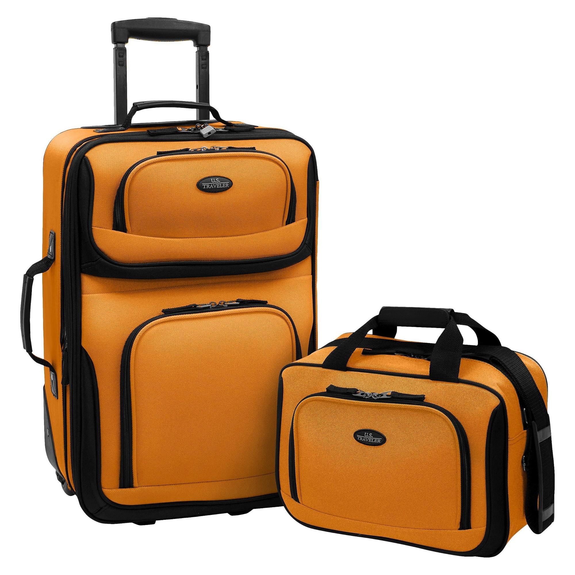 U.S. Traveler Rio 2pc Expandable Carry On Luggage Set - Orange/Mustard, Size: Small, Orange/Yellow