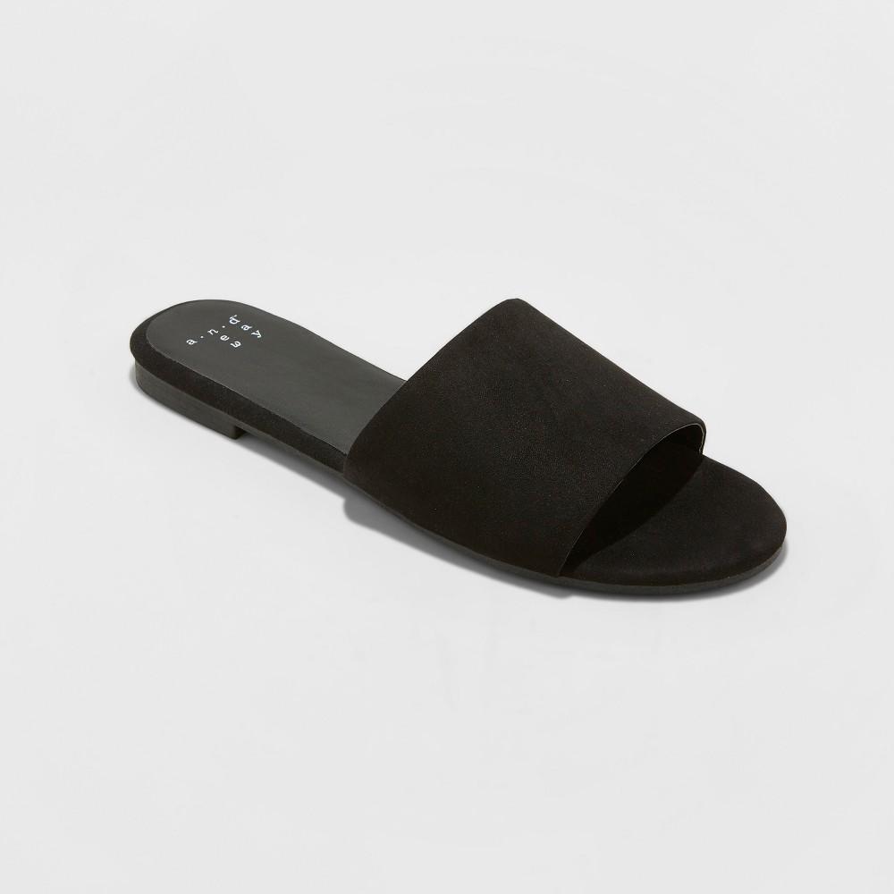 Women's Jozie Wide Width Slide Sandal - A New Day Black 8W, Size: 8 Wide