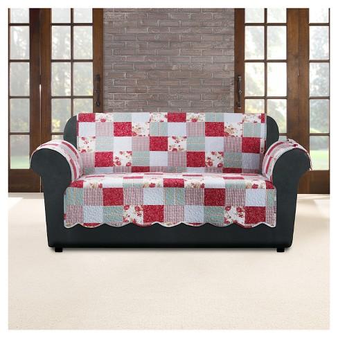 Pink Heirloom Cottage Patchwork Loveseat Furniture Cover Sure Fit