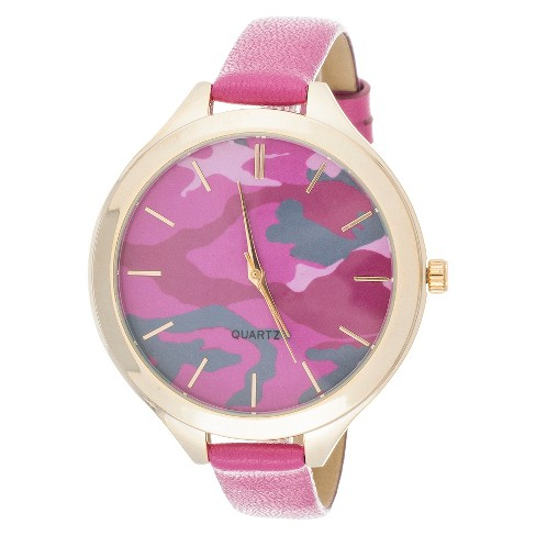 Women's Skinny Leatherette Strap Analog Watch - Fuchsia Camo & Gold - Xhilaration™ - image 1 of 2