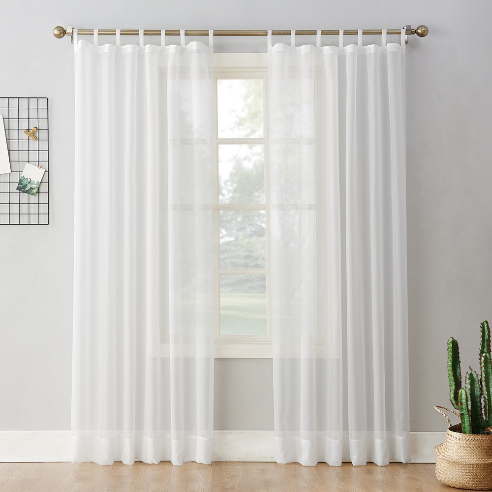 Emily Sheer Voile Tab Top Curtain Panel White 59