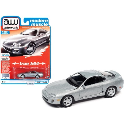 "1993 Toyota Supra Alpine Silver ""Modern Muscle"" Limited Edition to 14104 pieces Worldwide 1/64 Diecast Model Car by Autoworld"