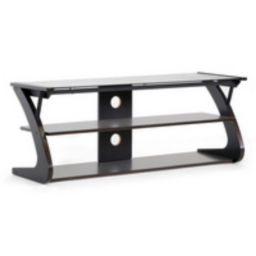 Image of Sculpten and Modern TV Stand with Glass Shelves Dark Brown/Black - Baxton Studio