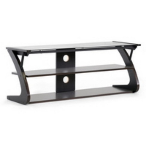 Sculpten And Modern Tv Stand With Glass Shelves Dark Brown Black