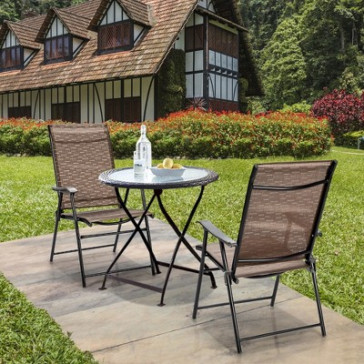 Costway 2PCS Outdoor Patio Folding Chair Camping Portable Lawn Garden W/Armrest