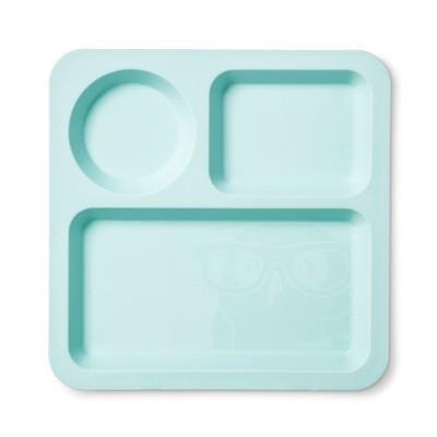 Square Plastic Divided Kids Plate 9.5  Sea Foam Green - Pillowfort™
