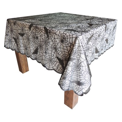 60 X84  Dark Wonder Halloween Lace Table Cloth Black - Hyde and Eek! Boutique™