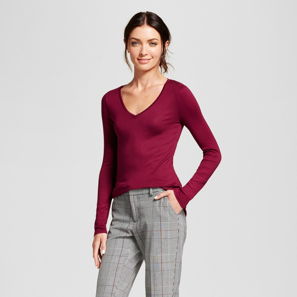 Women's Long Sleeve V-Neck T-Shirt - A New Day Burgundy (Red) M