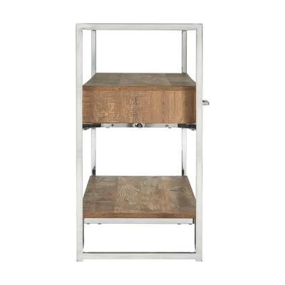 Hampton Rectangle Storage Sofa Table Light Walnut/Chrome - Picket House Furnishings