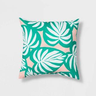 "16"" Palm Leaf Throw Pillow Green - Sun Squad™"
