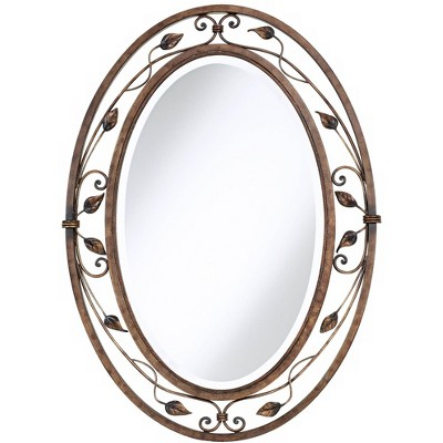 "Franklin Iron Works Eden Park French Bronze 24"" x 34"" Oval Wall Mirror"