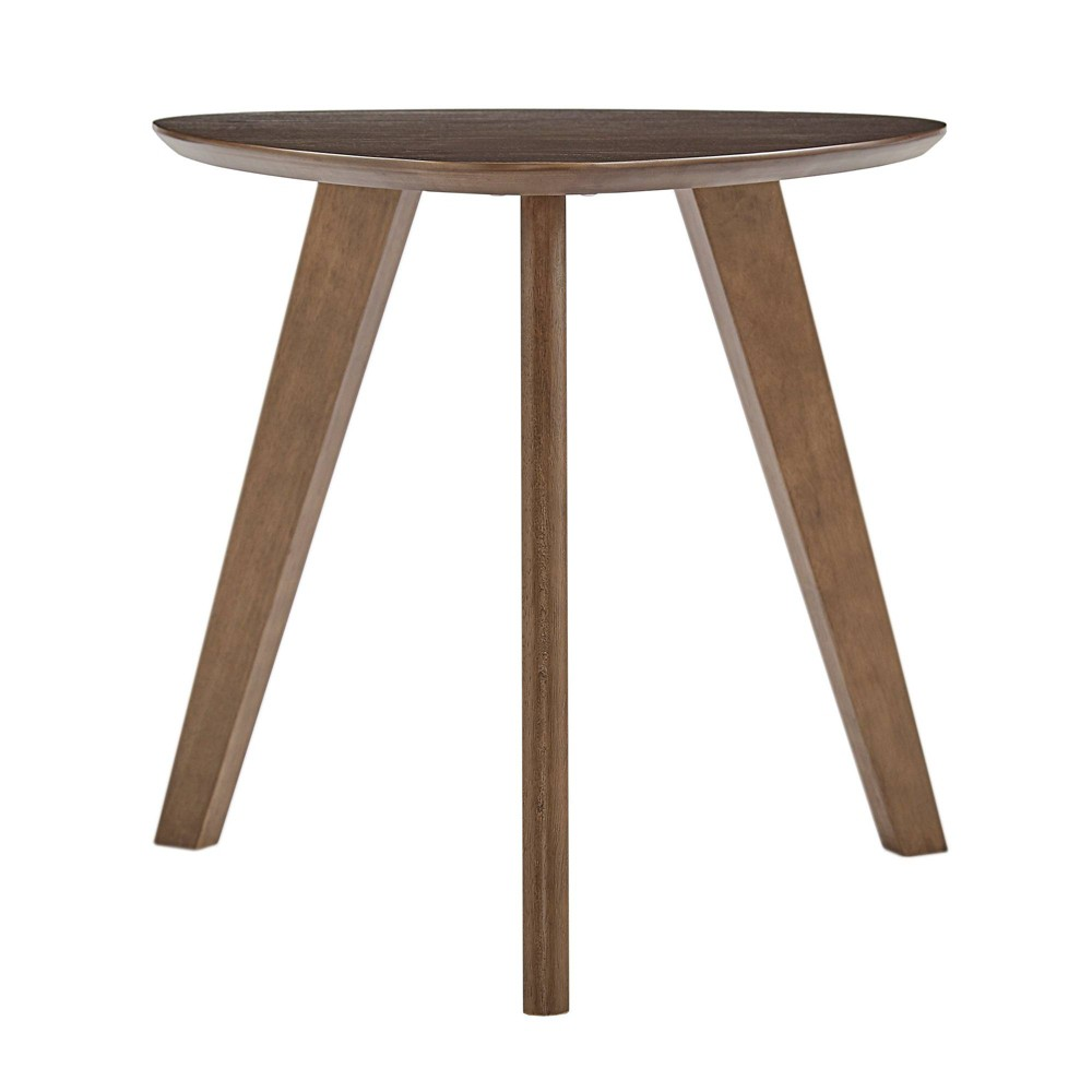 Apache Triangular Wood Accent Table Walnut Brown - Inspire Q