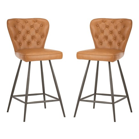 Magnificent Ashby 26H Mid Century Modern Leather Tufted Swivel Counter Stool Camel Black Safavieh Pabps2019 Chair Design Images Pabps2019Com