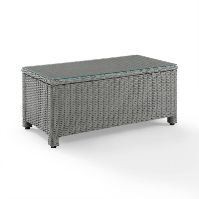 Bradenton Wicker Glass Top Coffee Table - Gray - Crosley