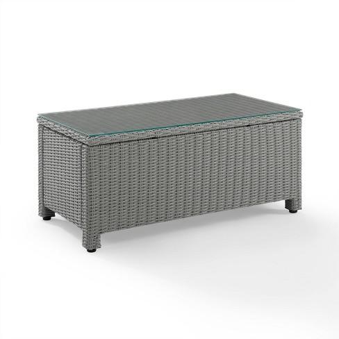 Bradenton Wicker Glass Top Coffee Table - Gray - Crosley - image 1 of 4