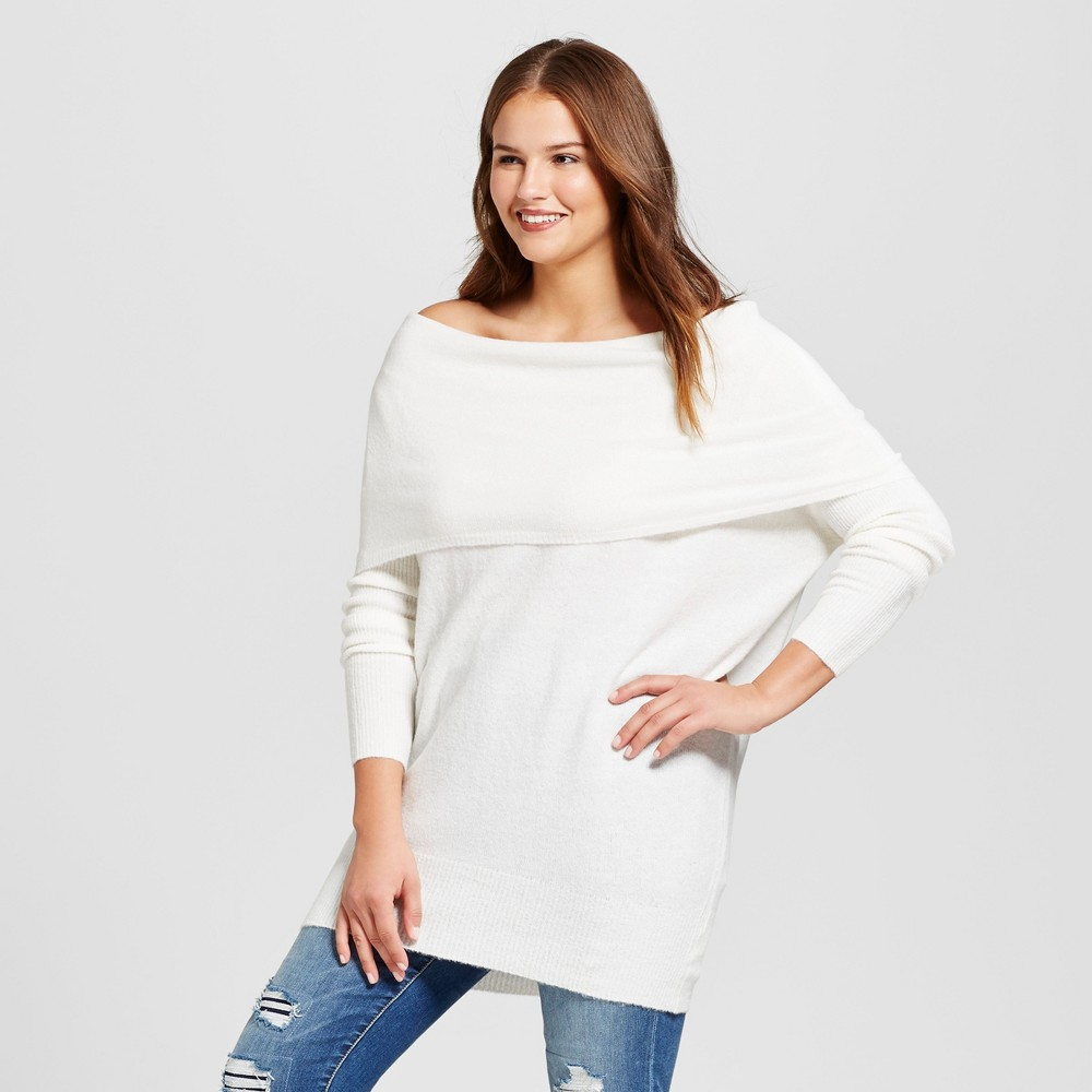 Women's Plus Size Off the Shoulder Pullover Sweater - No Comment White 2X, Light Milk White