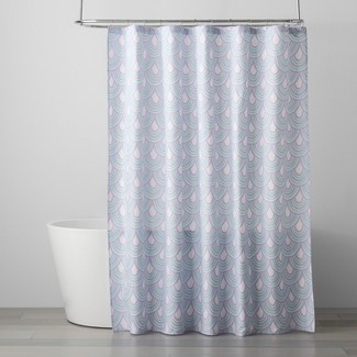 Scalloped Shower Curtain Crystalized Green/Shy Lavender - Pillowfort™