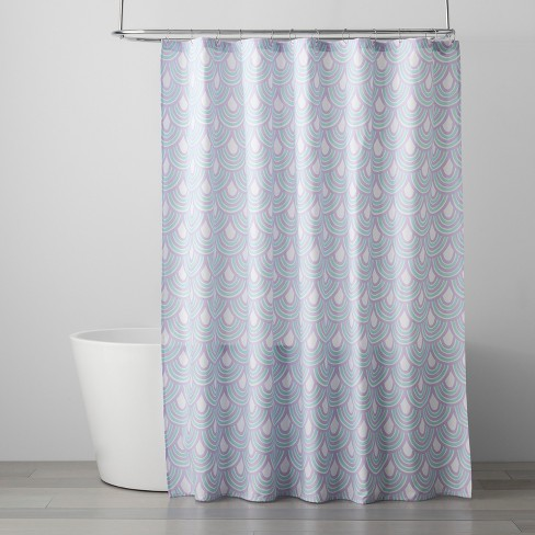 Scalloped Shower Curtain Crystalized Green/Shy Lavender - Pillowfort™ - image 1 of 2