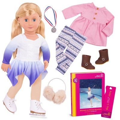 "Our Generation 18"" Posable Ice Skating Doll with Storybook & Outfit - Katelyn"