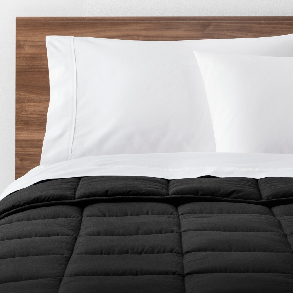 Image of Black Solid Down Alternative Comforter (Full/Queen) - Made By Design