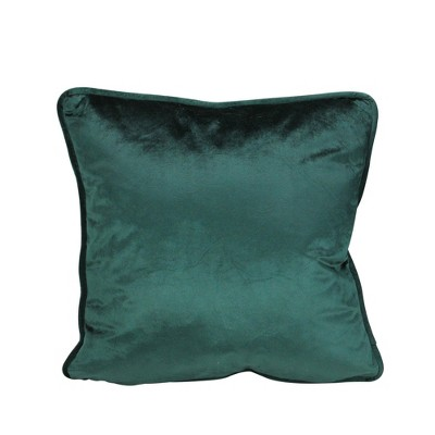 """Northlight 17"""" Square Solid Indoor Throw Pillow with Piped Edging - Hunter Green"""