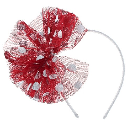 Toddler Girls' Mesh Metallic Dot Bow Headband Cat & Jack™ - Red & Silver - image 1 of 2