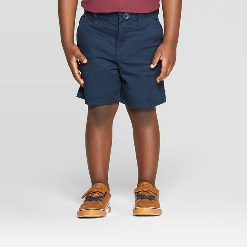 Toddler Boys' Flat Front Stretch Uniform Chino Shorts - Cat & Jack™ Navy 3T - image 1 of 3