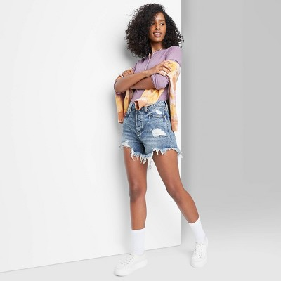 Women's High-Rise Frayed Hem Jean Shorts - Wild Fable™