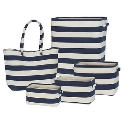 Soft Side Stripe 5pc Set White/Navy - Creative Bath™