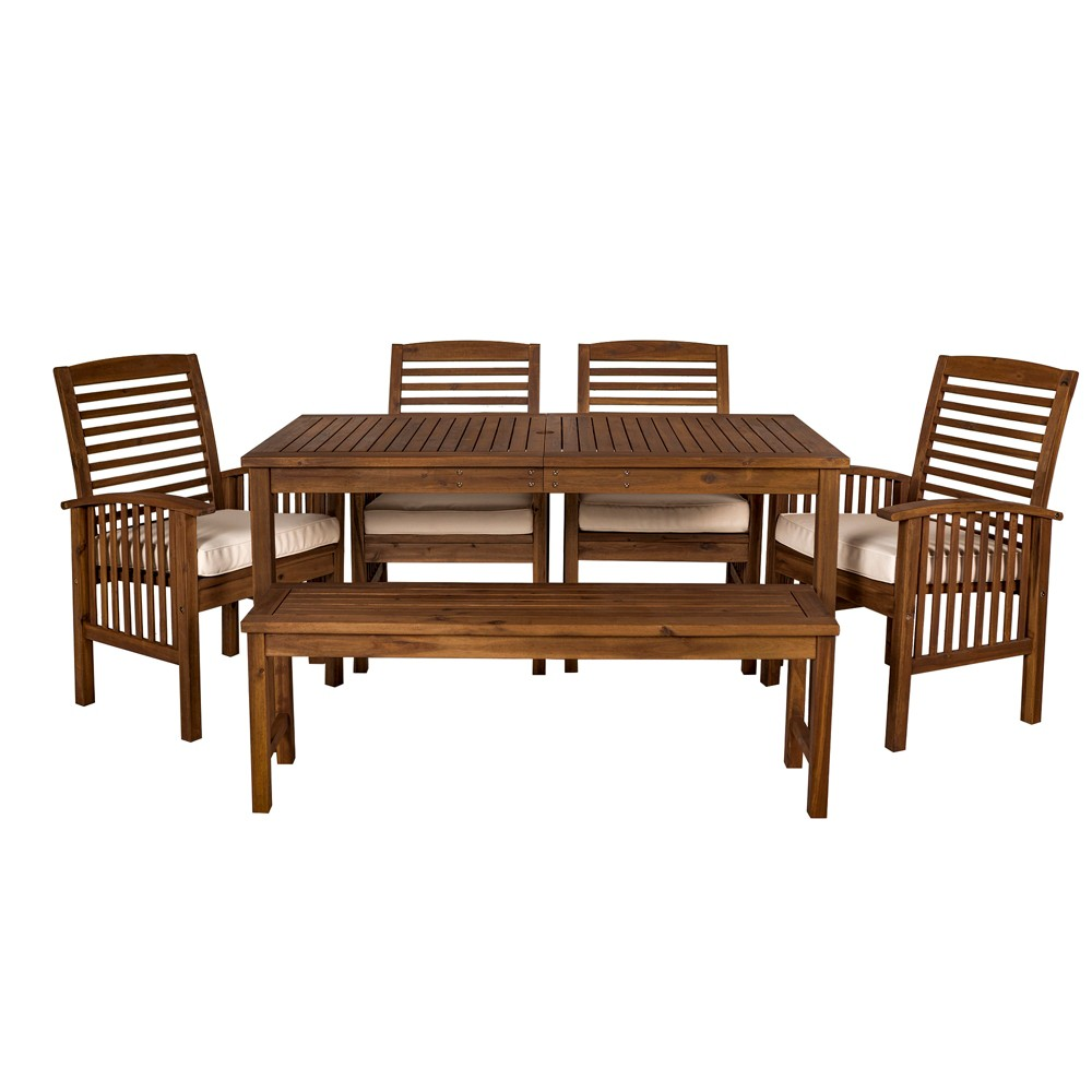 6pc Acacia Wood Simple Patio Dining Set Espresso Brown - Saracina Home