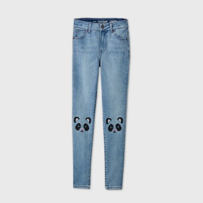 Girls' Panda Knee Mid-Rise Jeggings - Cat & Jack™