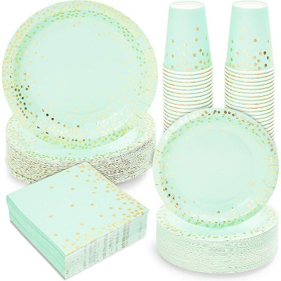 Dinnerware Set for Baby Shower, Gold Foil Polka Dot (Serves 50, 200 Pieces)