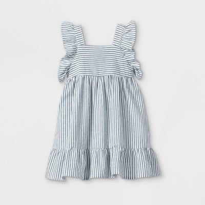 Toddler Girls' Striped Ruffle Sleeve Dress - Cat & Jack™ Blue/White