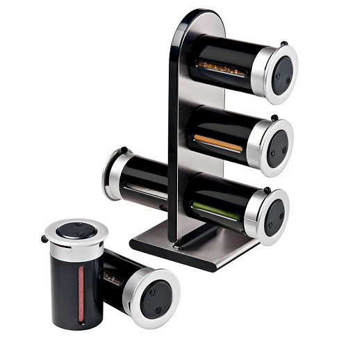 Zevro Zero Gravity™ Countertop 6 Canister Magnetic Spice Stand - Black - image 1 of 1