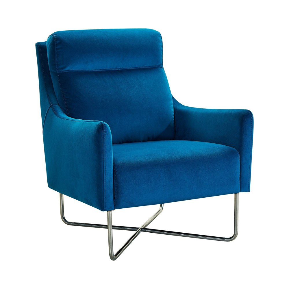 Image of Amber Contemporary Swoop Arm Accent Chair Teal - Armen Living