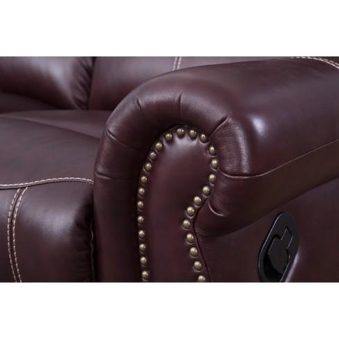 Lorenzo Top Grain Leather Reclining Sofa Burgundy - Abbyson Living