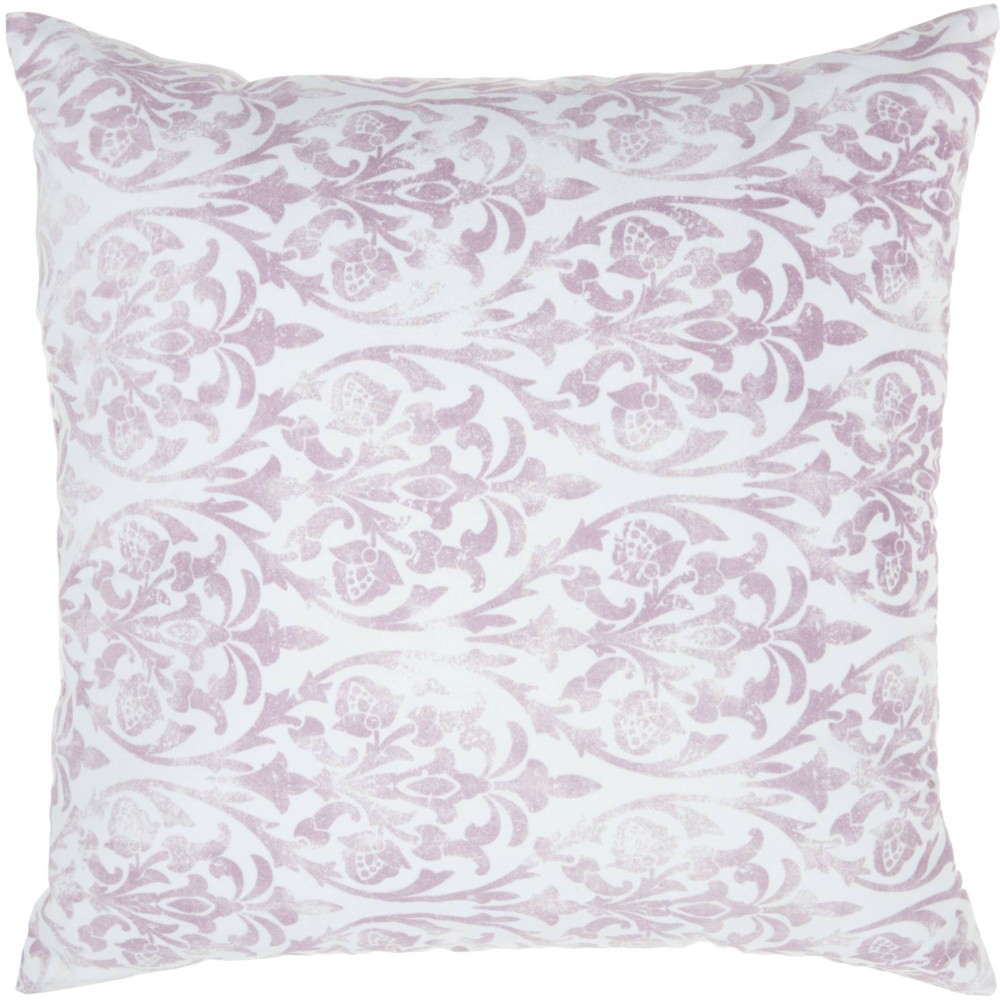 Image of Life Styles Faded Damask Oversize Square Throw Pillow Lavender - Nourison