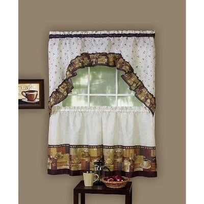 GoodGram Coffee Complete Kitchen Curtain Tier and Swag Set