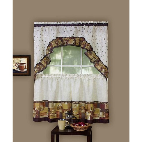 GoodGram Coffee Complete Kitchen Curtain Tier and Swag Set - image 1 of 1