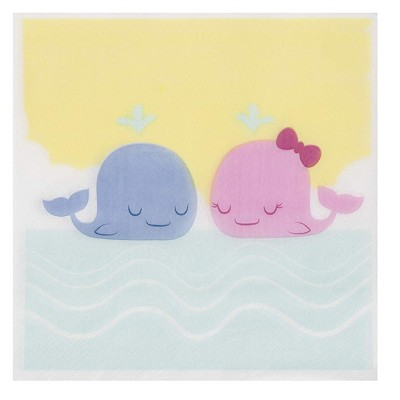 """Blue Panda 150-Pack Disposable Paper Napkins Gender Reveal Party Supplies, Yellow Whale 6.5""""x6.5"""""""