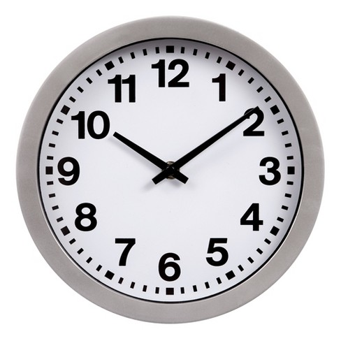 """9""""x9"""" Round Silver with Bold Numbers Wall Clock Silver - Patton Wall Decor - image 1 of 4"""