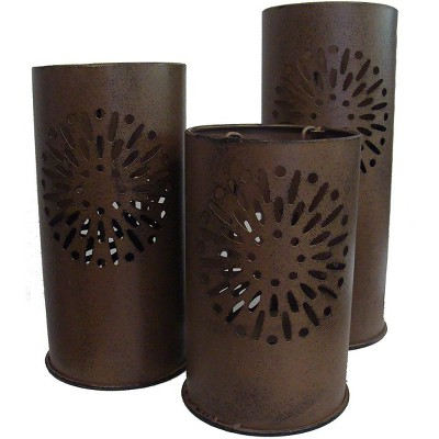 "Sterling Set of 3 Distressed Floral Metal Tea Light Candle Lantern Holders 8"" - 12"""