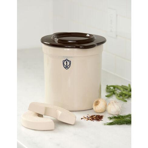 1-Gallon Stoneware Pickling Crock Complete Kit - Gardener's Supply Company - image 1 of 2