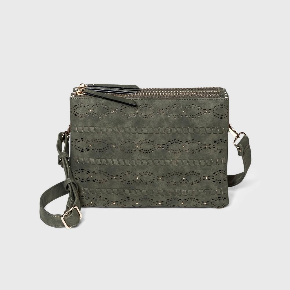 Vr Nyc Zip Closure Laser Cut Studded Crossbody Bag Olive Green
