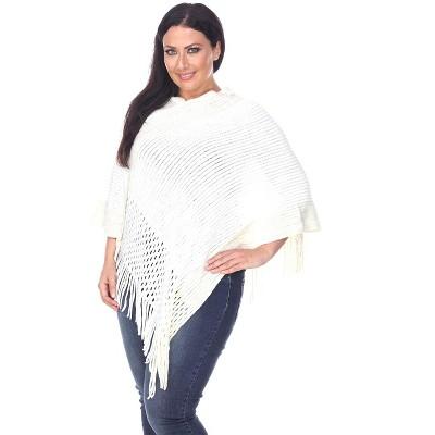 Women's Plus Size Sansa Gold Knit Fringe Poncho - White Mark