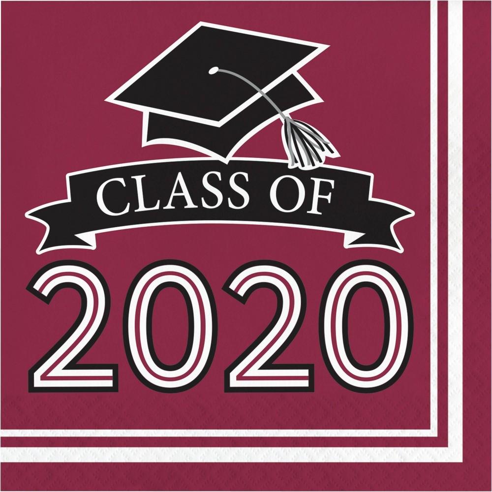 Image of 108ct Class Of 2020 Grad Napkins Burgundy