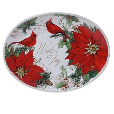 """14"""" x 10"""" Earthenware Winter Garden Oval Platter - Certified International"""
